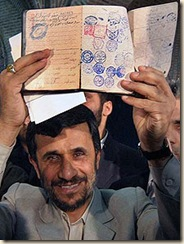 Ahmadinejad showing papers during election. It shows that his family's previous name was Jewish