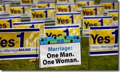 In this photo made Friday, Oct. 30, 2009, 'Yes on 1' campaign posters are seen at a corner in Portland, Maine. Maine voters go to the polls next Tuesday and will have the opportunity to become the first in the nation to approve gay marriage.