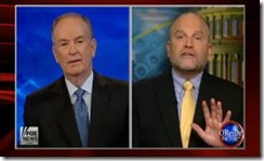 "CAIR's Ibrahim Hooper, right, on the Fox News ""O'Reilly Factor"" show with host Bill O'Reilly last week"