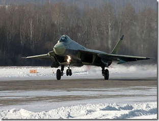 A new Russian T-50 fighter lands at an airfield of the Sukhoi aircraft manufacturing plant in Komsomolsk-on-Amur January 23. The new fighter aircraft is by some seen as Russia's response to U.S. advances in military aviation.